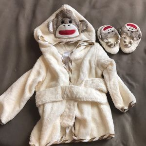 Baby Sock monkey robe with matching slippers